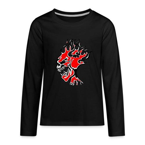 Flaming Demon Head Red - Teenagers' Premium Longsleeve Shirt
