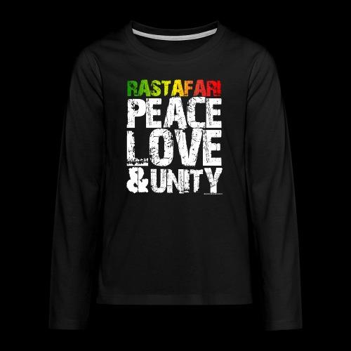 RASTAFARI - PEACE LOVE & UNITY - Teenager Premium Langarmshirt