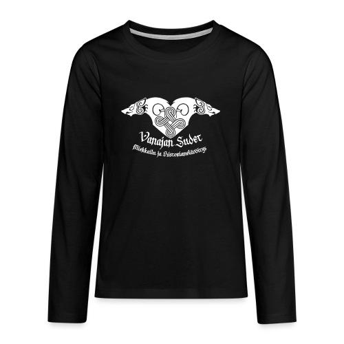 Vanajan Sudet Logo (valkoinen) - Teinien premium pitkähihainen t-paita