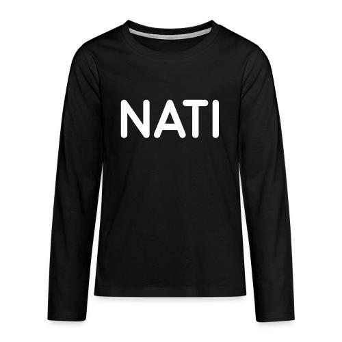 NATI Original - Hvid - Teenager premium T-shirt med lange ærmer