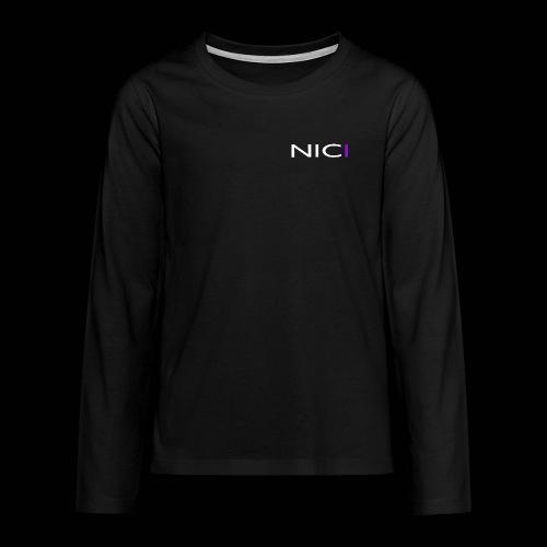 NICI logo WHITE - Teinien premium pitkähihainen t-paita