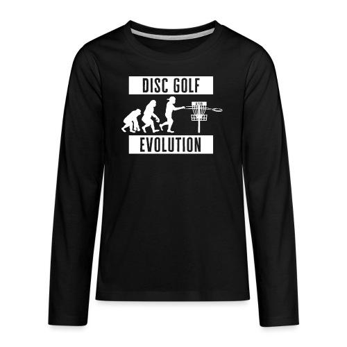 Disc golf - Evolution - White - Teinien premium pitkähihainen t-paita