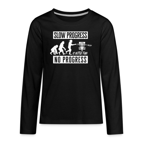 Disc golf - Slow progress - White - Teinien premium pitkähihainen t-paita