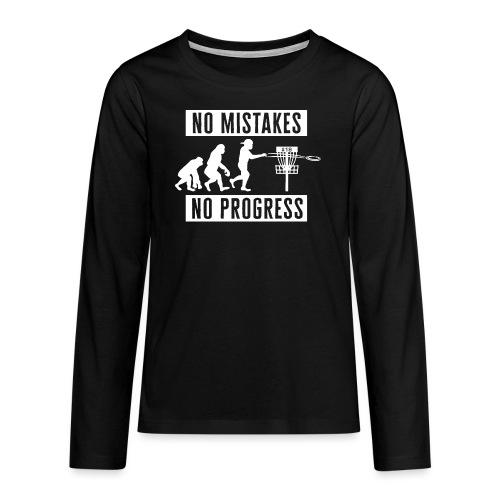 Disc golf - No mistakes, no progress - White - Teinien premium pitkähihainen t-paita