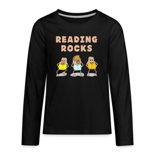 Reading Rocks Funny Book Lovers - Teenagers' Premium Longsleeve Shirt