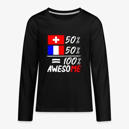 50% Schweiz 50% Frankreich - Teenager Premium Langarmshirt