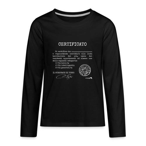 1.07 Certificato Piu Generico B (Aggiungi nome) - Maglietta Premium a manica lunga per teenager