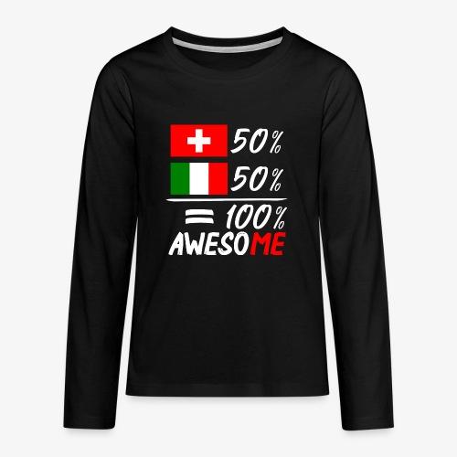 50% Schweiz 50% Italien - Teenager Premium Langarmshirt