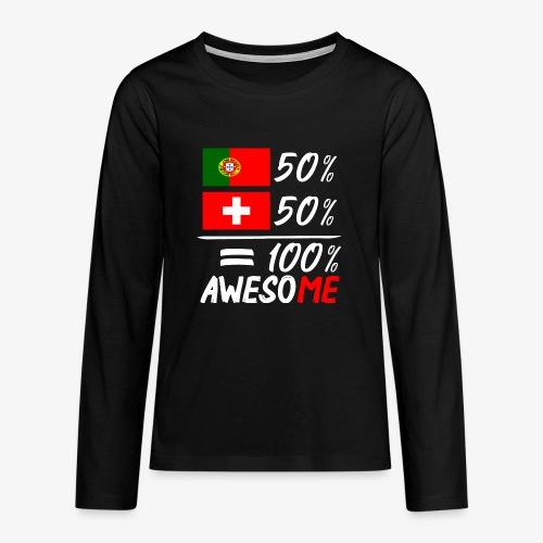 50% Portugal 50% Schweiz - Teenager Premium Langarmshirt