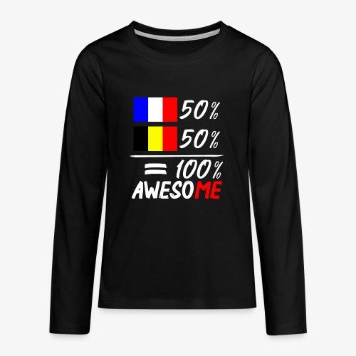 50% Frankreich 50% Belgien - Teenager Premium Langarmshirt