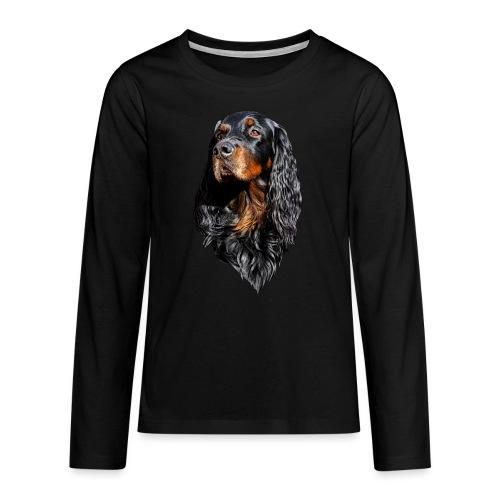 Gordon Setter Portrait - Teinien premium pitkähihainen t-paita
