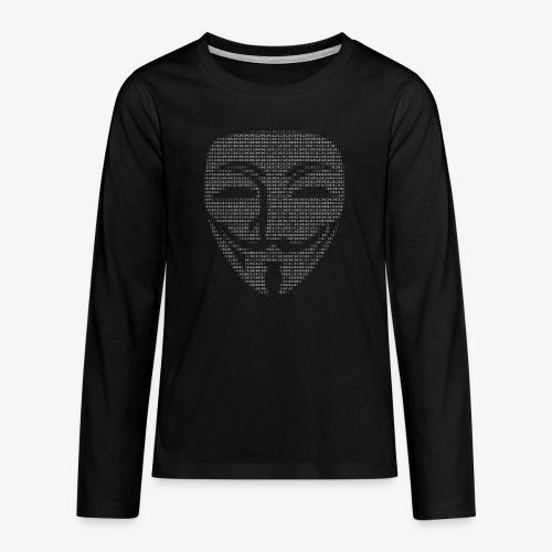 Guy Fawkes Mask Binary - Teenagers' Premium Longsleeve Shirt