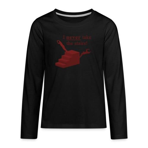 I Never Take The Stairs Red Parkour - Teenager premium T-shirt med lange ærmer
