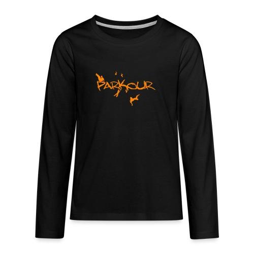 Parkour Orange - Teenager premium T-shirt med lange ærmer