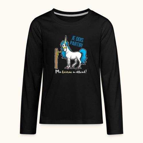 Lustiges Einhorn mit Spruch Französisch Geschenk - T-shirt manches longues Premium Ado