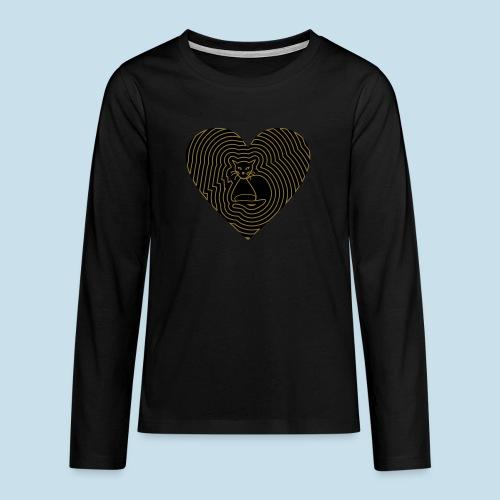 Katzen Herz Spirale 2 Färbig - Teenager Premium Langarmshirt