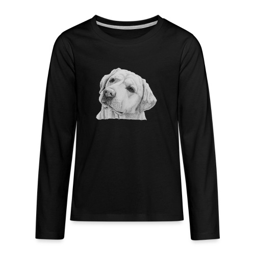labrador retriever yellow - head - Teenager premium T-shirt med lange ærmer