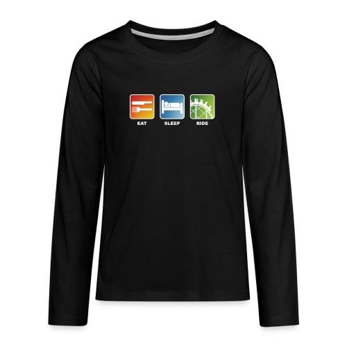 Eat, Sleep, Ride! - T-Shirt Schwarz - Teenager Premium Langarmshirt