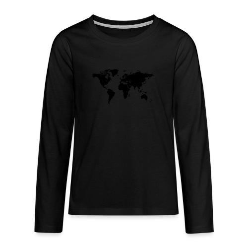 World Map - Teenager Premium Langarmshirt