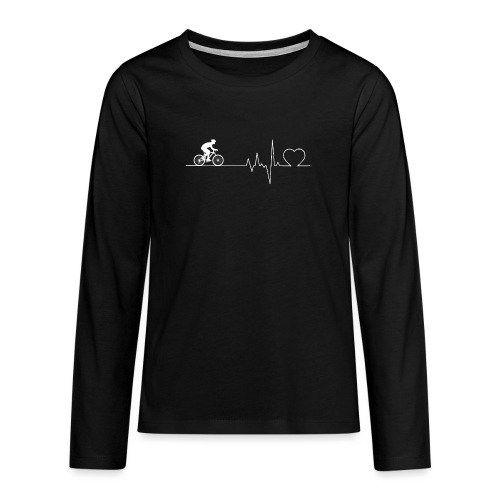 Herzschlag Heartbeat Fahrrad Rennrad Geschenk - Teenager Premium Langarmshirt