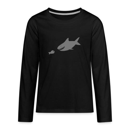 Kleiner Fisch + Hai / dunkler Hintergrund - Teenager Premium Langarmshirt