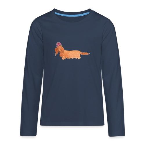 dachshund with flower - Teenager premium T-shirt med lange ærmer