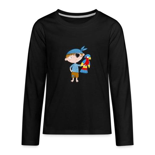 Kleiner Pirat mit Papagei - Teenager Premium Langarmshirt