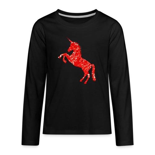 unicorn red - Koszulka Premium z długim rękawem dla nastolatków