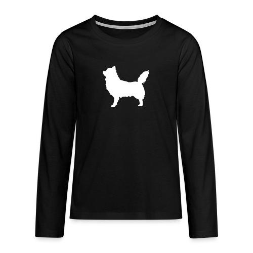 Chihuahua pitkakarva valkoinen - Teinien premium pitkähihainen t-paita