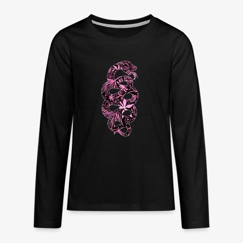 Flower Snake IV - Teinien premium pitkähihainen t-paita