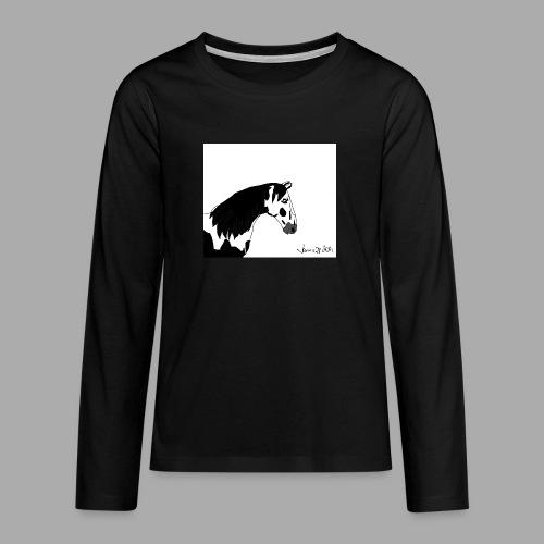 Pferdekopf mit Unterschrift - Teenager Premium Langarmshirt