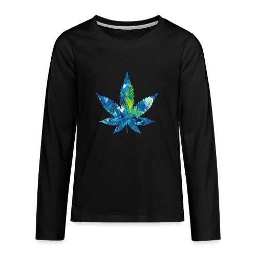 Artful cannabis leaf in acrylic paint - Teenagers' Premium Longsleeve Shirt