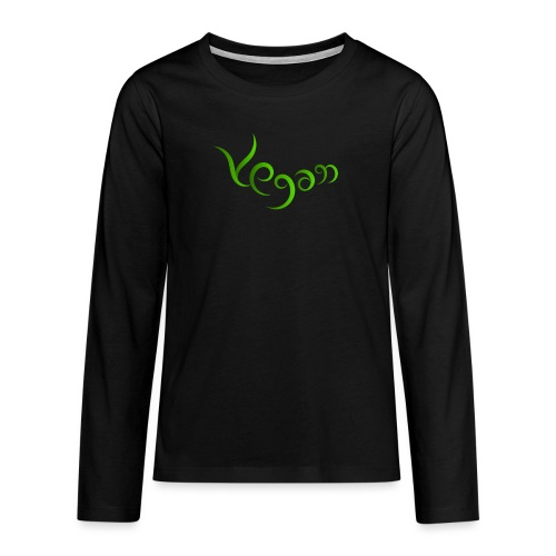 Vegaani käsinkirjoitettu design - Teinien premium pitkähihainen t-paita