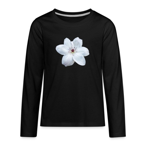 Jalokärhö, valkoinen - Teinien premium pitkähihainen t-paita