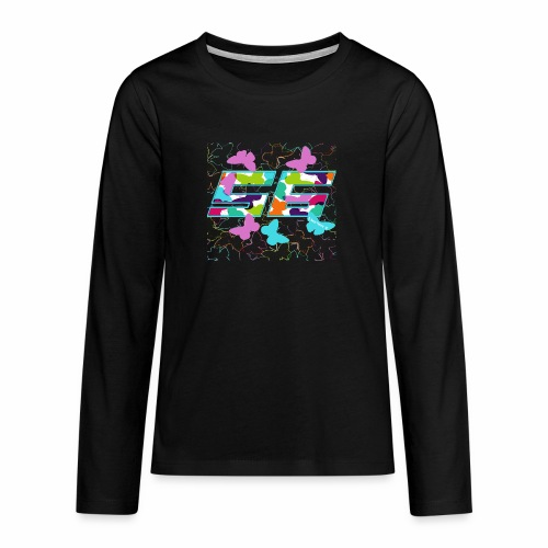 Dorsal mariposas de colores - Camiseta de manga larga premium adolescente