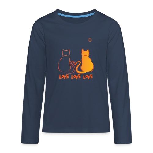 The Red Twins LOVE LOVE LOVE - Maglietta Premium a manica lunga per teenager