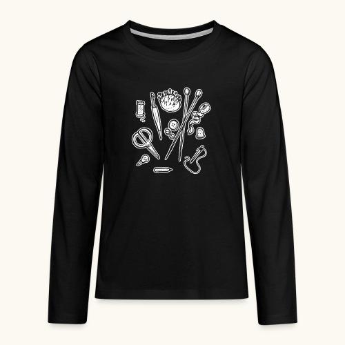 Handarbeiten lustiges Hobby Werkzeuge Geschenk - T-shirt manches longues Premium Ado