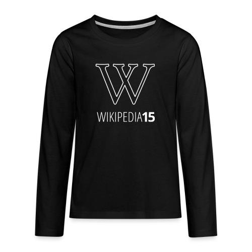 W, rak, svart - Långärmad premium T-shirt tonåring