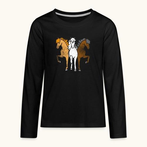 Drôle idée de cadeau chevaux couleurs troika Grunge - T-shirt manches longues Premium Ado