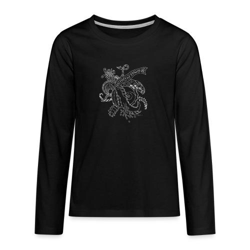 Fantasia valkoinen scribblesirii - Teinien premium pitkähihainen t-paita