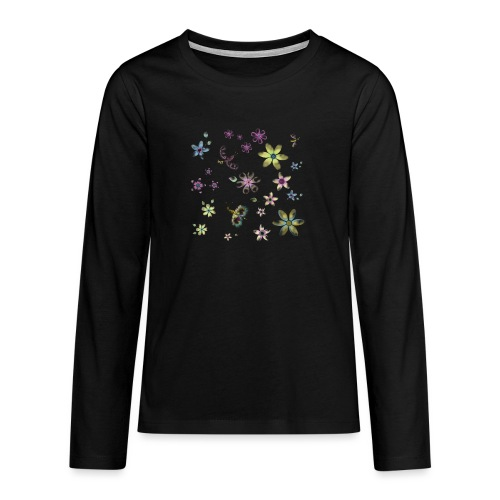 flowers and butterflies - Maglietta Premium a manica lunga per teenager