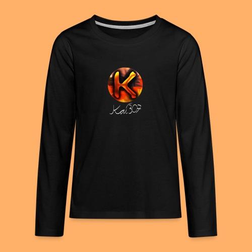 Kai_307 - Profilbild + Unterschrift Weiß - Teenager Premium Langarmshirt