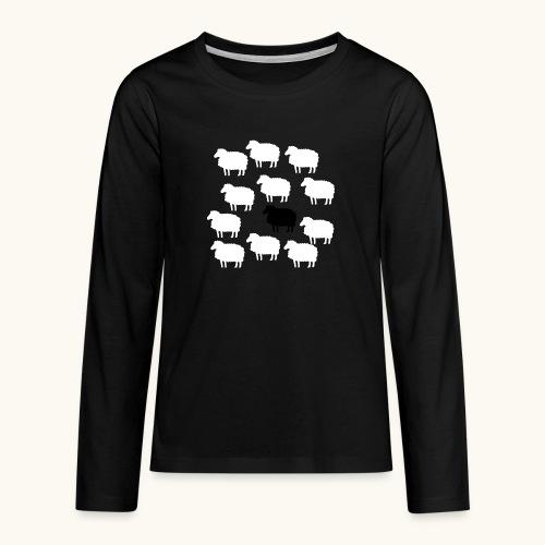 Lustige Schafherde Schwarzes Schaf Geschenkidee - T-shirt manches longues Premium Ado