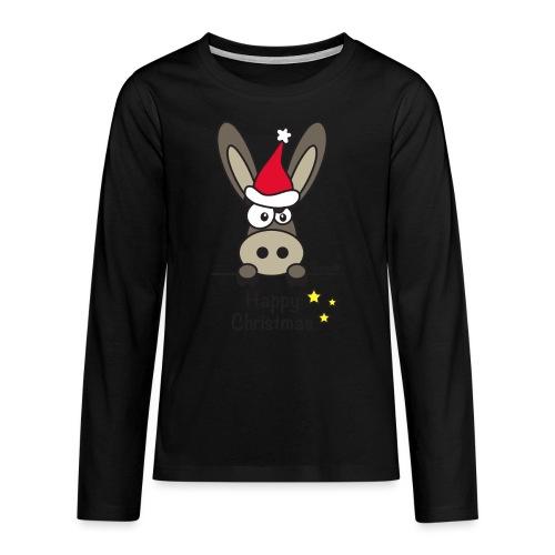 Âne, Noël Happy Christmas - T-shirt manches longues Premium Ado