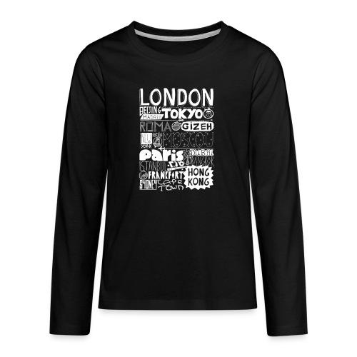 Villes du monde - blanc - T-shirt manches longues Premium Ado