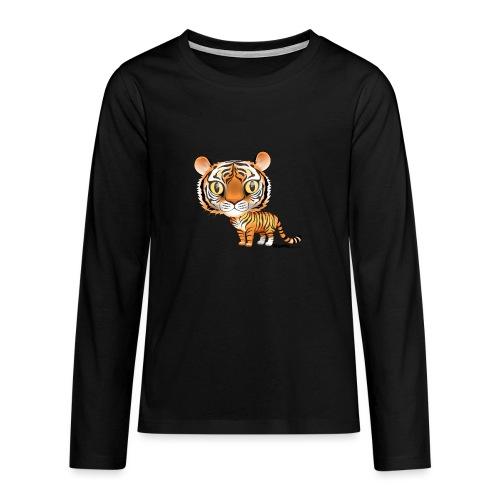 Tiikeri - Teinien premium pitkähihainen t-paita