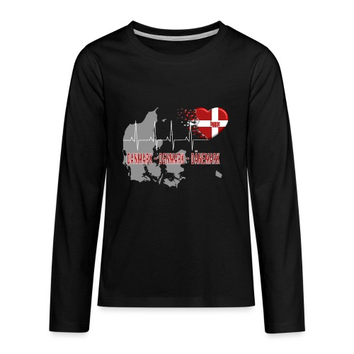Dänemark Denmark Danmark Hygge Herzschlag EKG - Teenager Premium Langarmshirt