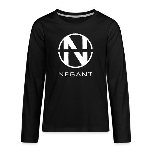 White Negant logo - Teenager premium T-shirt med lange ærmer