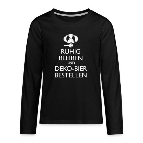 Ruhig bleiben und Deko-Bier bestellen Umhängetasc - Teenager Premium Langarmshirt