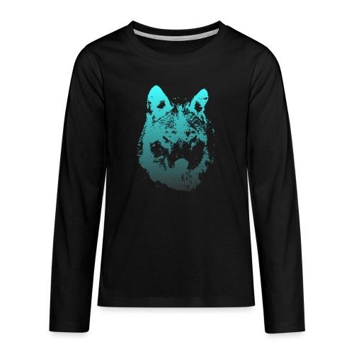 illustration tete de loup - T-shirt manches longues Premium Ado